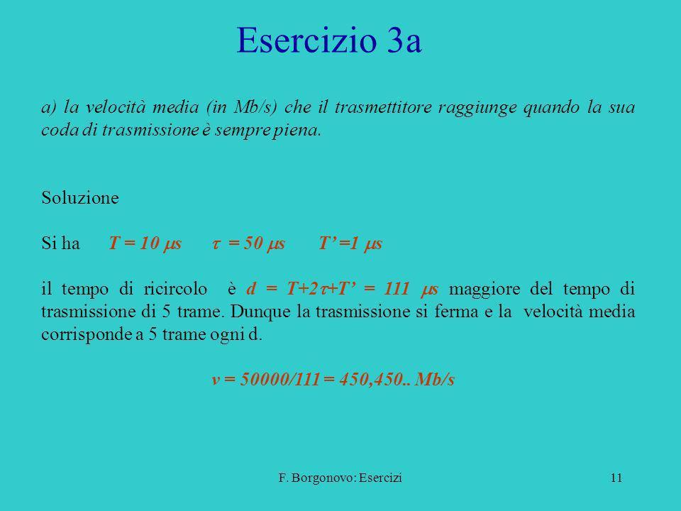 F. Borgonovo: Esercizi11 Esercizio 3a a) la velocità media (in Mb/s) che il trasmettitore raggiunge quando la sua coda di trasmissione è sempre piena.