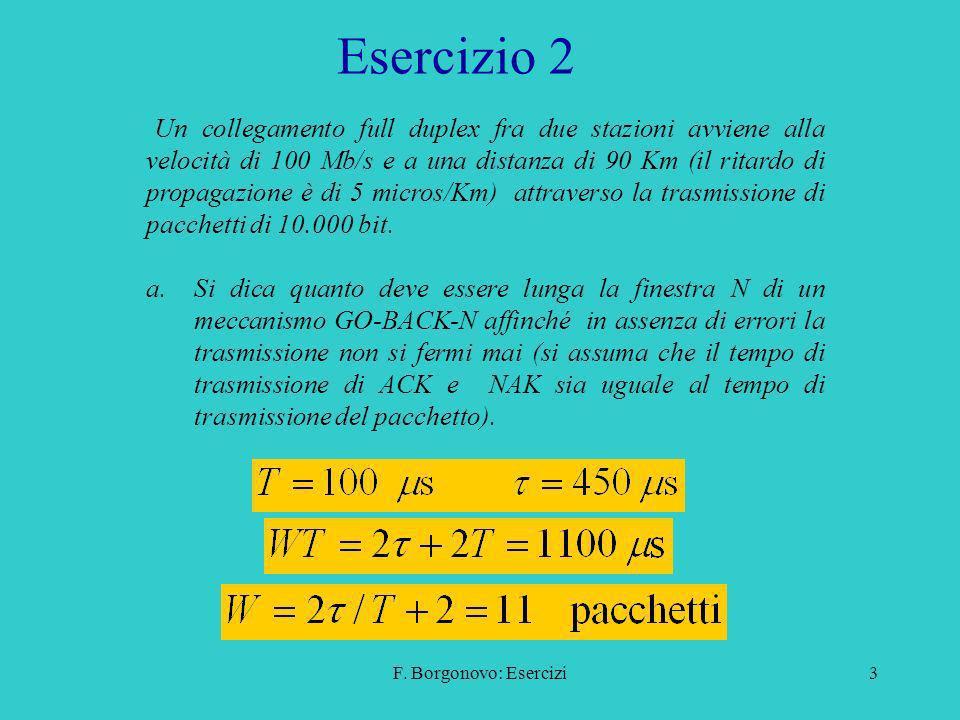 F. Borgonovo: Esercizi3 Esercizio 2 Un collegamento full duplex fra due stazioni avviene alla velocità di 100 Mb/s e a una distanza di 90 Km (il ritar