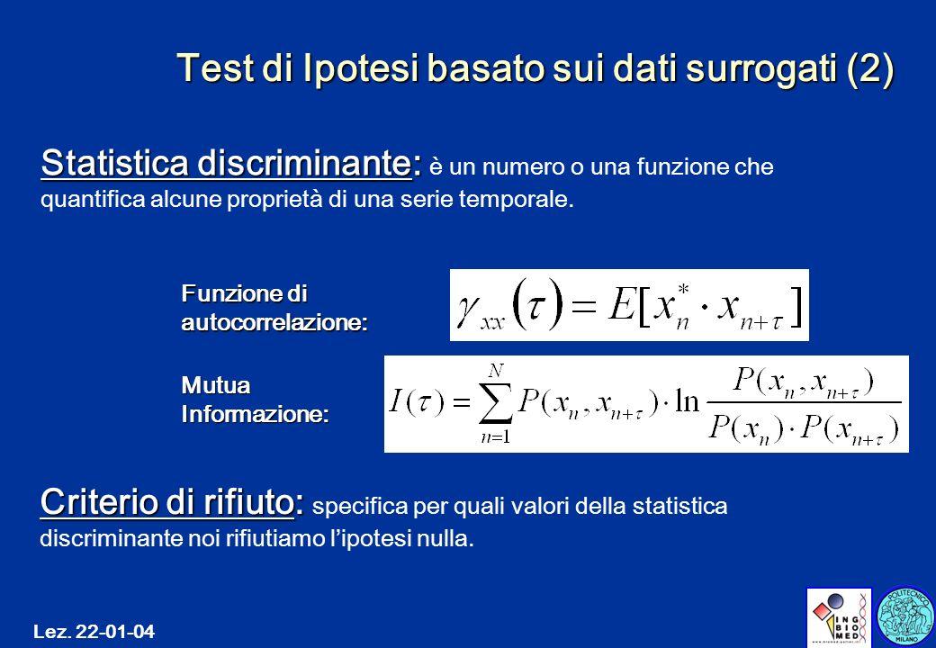 Lez. 22-01-04 Test di Ipotesi basato sui dati surrogati (2) Criterio di rifiuto: Criterio di rifiuto: specifica per quali valori della statistica disc