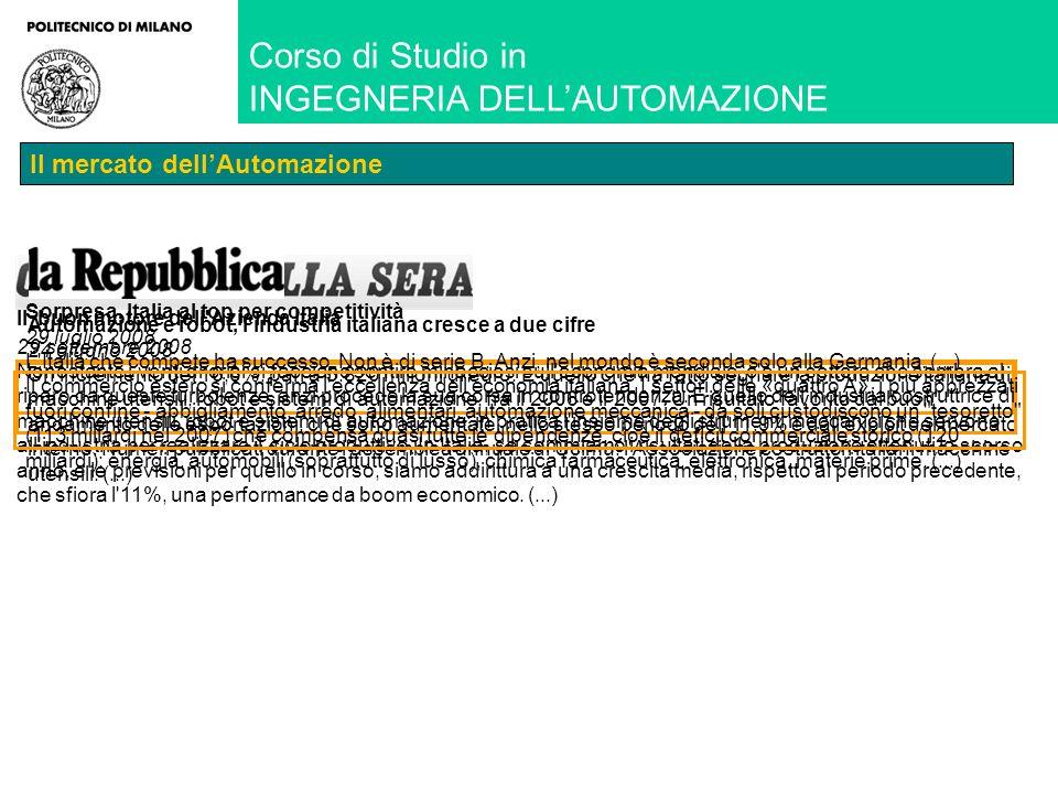 Corso di Studio in INGEGNERIA DELLAUTOMAZIONE Il mercato dellAutomazione Il buon motore dell Azienda Italia Il buon motore dell Azienda Italia 0%0% 0%0% 0%0% Automazione e robot, l industria italiana cresce a due cifre 24 giugno 2008 Un incremento del 16,6%, pari a 5.820 milioni di euro.