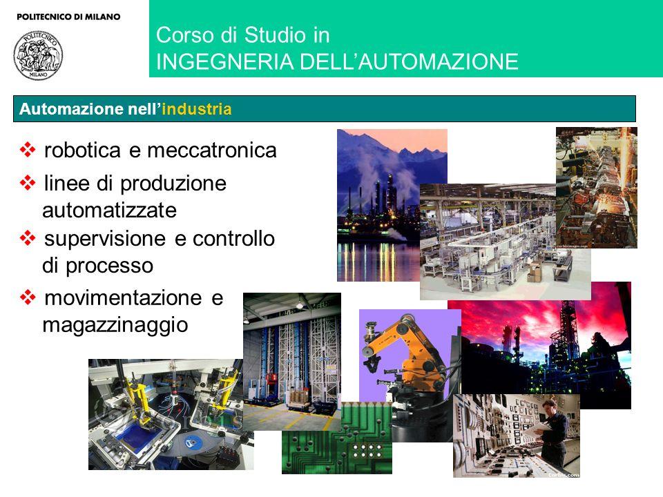 robotica e meccatronica linee di produzione automatizzate supervisione e controllo di processo movimentazione e magazzinaggio Corso di Studio in INGEGNERIA DELLAUTOMAZIONE Automazione nellindustria