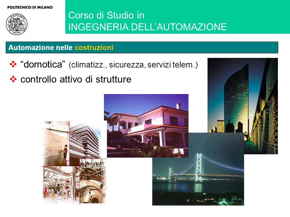 controllo attivo di strutture domotica (climatizz., sicurezza, servizi telem.) Corso di Studio in INGEGNERIA DELLAUTOMAZIONE Automazione nelle costruzioni