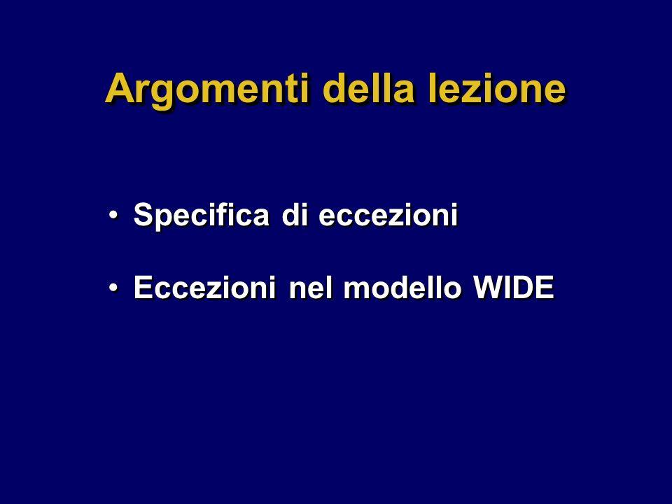 Argomenti della lezione Specifica di eccezioni Eccezioni nel modello WIDE Specifica di eccezioni Eccezioni nel modello WIDE