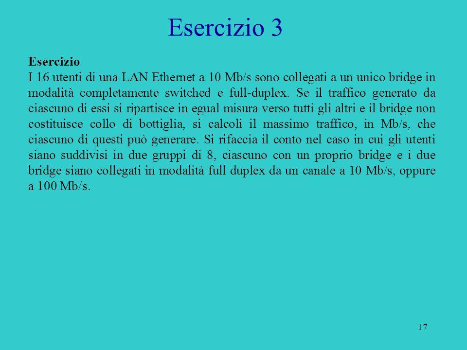 18 Esercizio 3 Soluzione I parte Se ciascun utente genera X Mb/s, X/15 sono diretti verso gli altri e in ingresso a ciascun utente arrivano in totale X Mb/s.