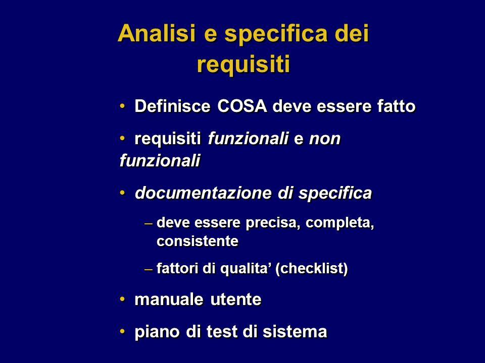 Definisce COSA deve essere fatto requisiti funzionali e non funzionali documentazione di specifica –deve essere precisa, completa, consistente –fattor