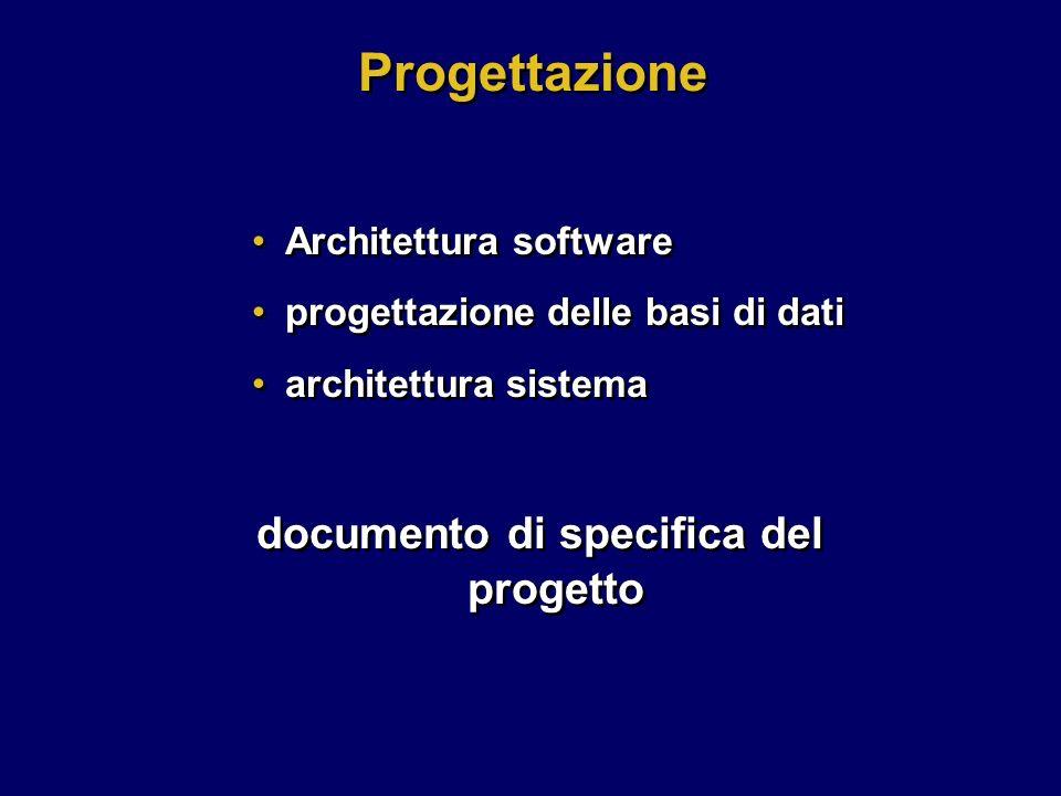Architettura software progettazione delle basi di dati architettura sistema documento di specifica del progetto Architettura software progettazione de
