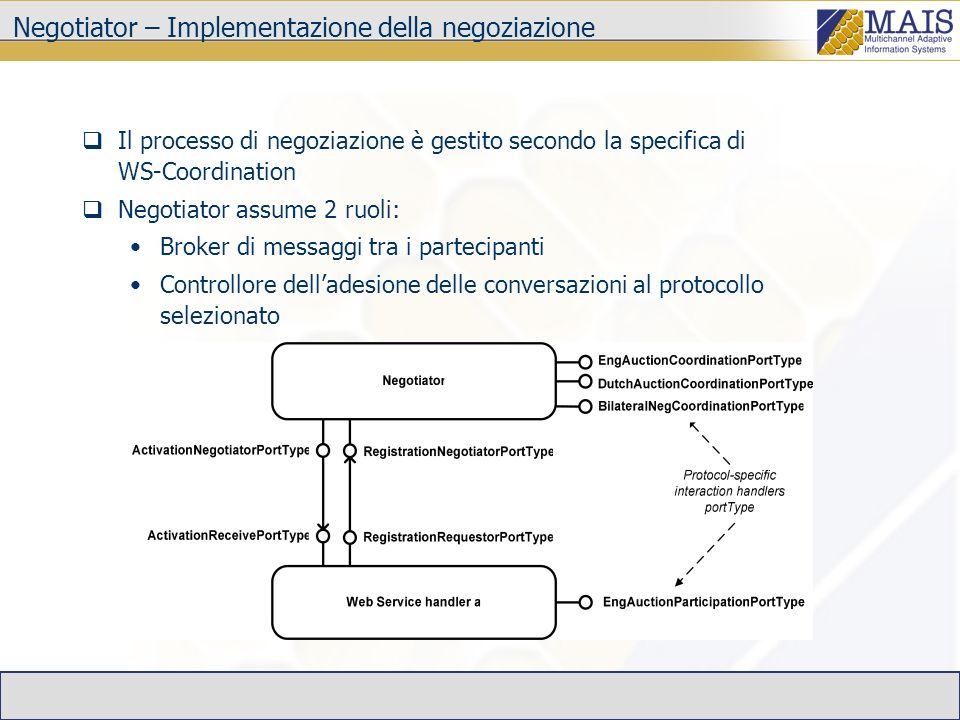 Negotiator – Implementazione della negoziazione Il processo di negoziazione è gestito secondo la specifica di WS-Coordination Negotiator assume 2 ruoli: Broker di messaggi tra i partecipanti Controllore delladesione delle conversazioni al protocollo selezionato