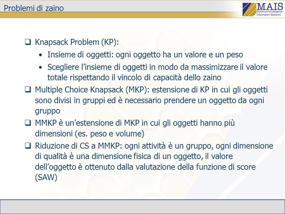 Problemi di zaino Knapsack Problem (KP): Insieme di oggetti: ogni oggetto ha un valore e un peso Scegliere linsieme di oggetti in modo da massimizzare
