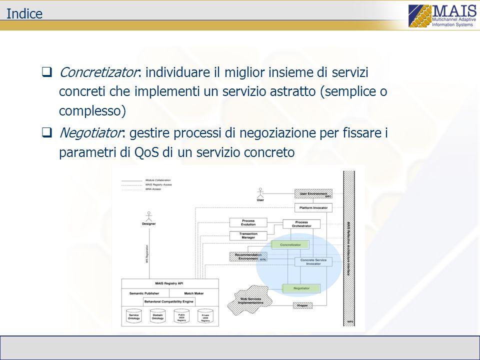Indice Concretizator: individuare il miglior insieme di servizi concreti che implementi un servizio astratto (semplice o complesso) Negotiator: gestire processi di negoziazione per fissare i parametri di QoS di un servizio concreto