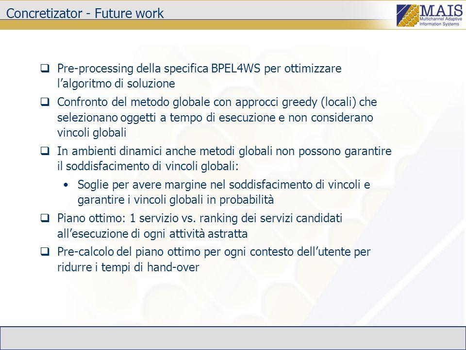 Concretizator - Future work Pre-processing della specifica BPEL4WS per ottimizzare lalgoritmo di soluzione Confronto del metodo globale con approcci g