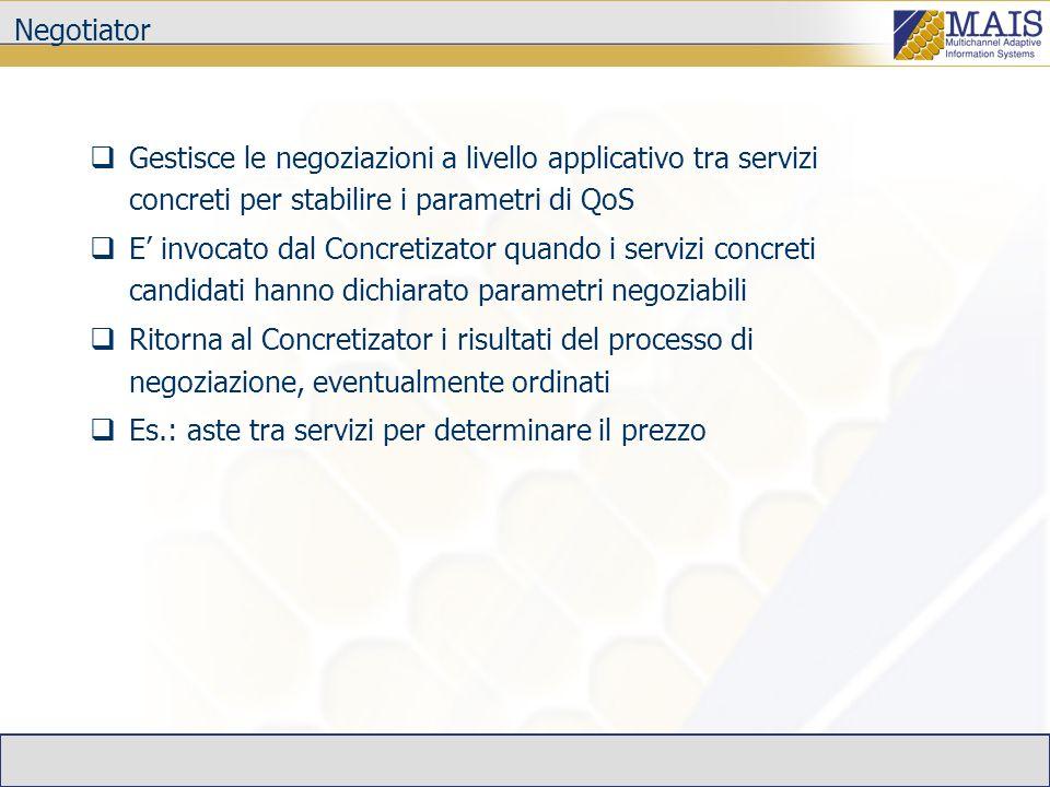 Negotiator Gestisce le negoziazioni a livello applicativo tra servizi concreti per stabilire i parametri di QoS E invocato dal Concretizator quando i