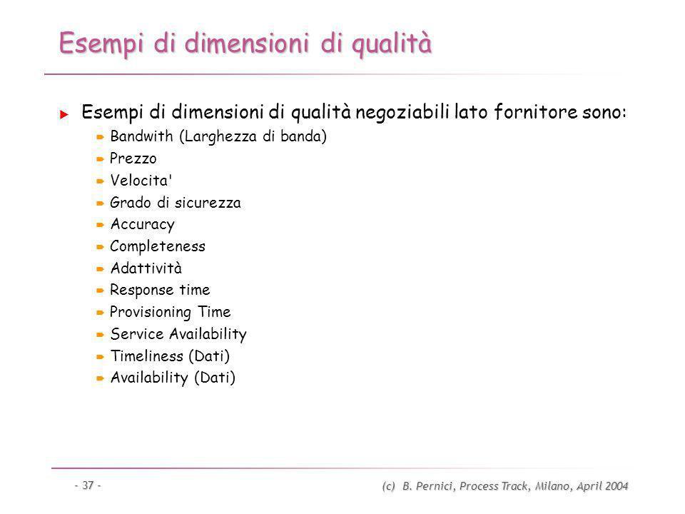 (c) B. Pernici, Process Track, Milano, April 2004 - 37 - Esempi di dimensioni di qualità Esempi di dimensioni di qualità negoziabili lato fornitore so