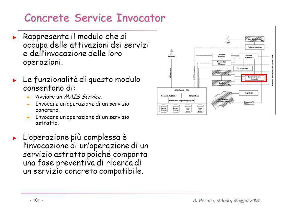 B. Pernici, Milano, Maggio 2004 - 101 - Concrete Service Invocator Rappresenta il modulo che si occupa delle attivazioni dei servizi e dellinvocazione
