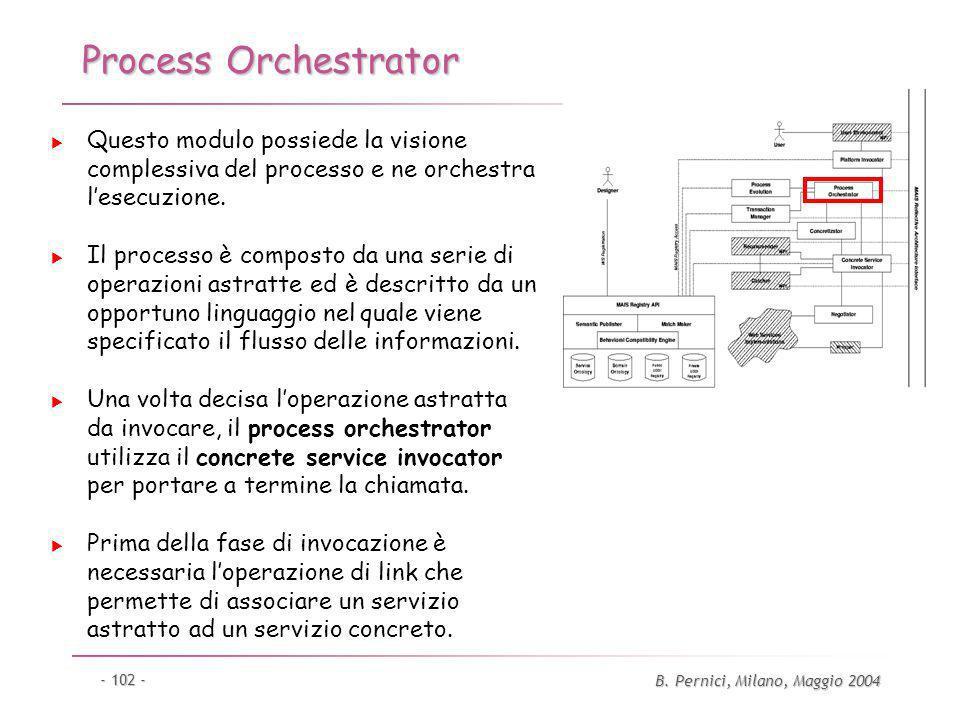 B. Pernici, Milano, Maggio 2004 - 102 - Process Orchestrator Questo modulo possiede la visione complessiva del processo e ne orchestra lesecuzione. Il