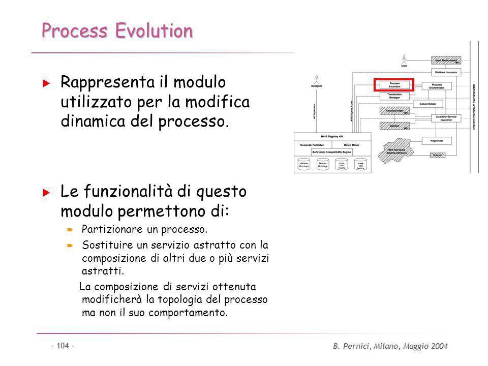 B. Pernici, Milano, Maggio 2004 - 104 - Process Evolution Rappresenta il modulo utilizzato per la modifica dinamica del processo. Le funzionalità di q