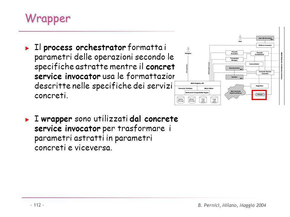 B. Pernici, Milano, Maggio 2004 - 112 - Wrapper Il process orchestrator formatta i parametri delle operazioni secondo le specifiche astratte mentre il