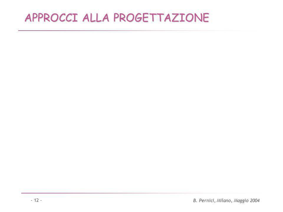 B. Pernici, Milano, Maggio 2004 - 12 - APPROCCI ALLA PROGETTAZIONE