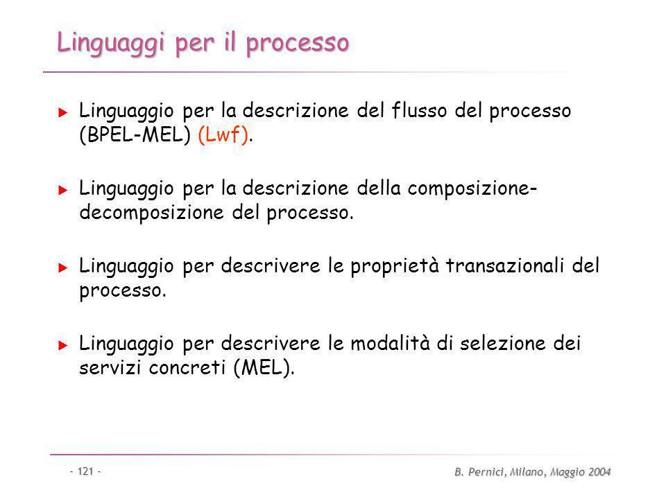 B. Pernici, Milano, Maggio 2004 - 121 - Linguaggi per il processo Linguaggio per la descrizione del flusso del processo (BPEL-MEL) (Lwf). Linguaggio p