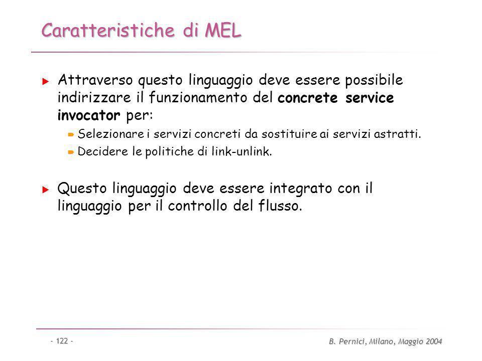 B. Pernici, Milano, Maggio 2004 - 122 - Caratteristiche di MEL Attraverso questo linguaggio deve essere possibile indirizzare il funzionamento del con