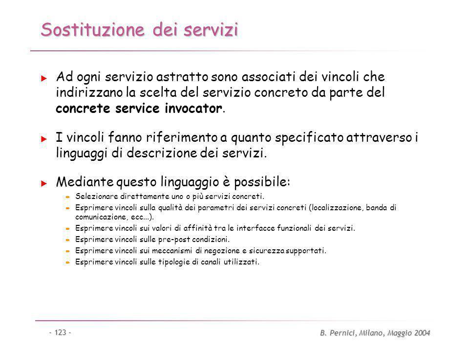 B. Pernici, Milano, Maggio 2004 - 123 - Sostituzione dei servizi Ad ogni servizio astratto sono associati dei vincoli che indirizzano la scelta del se