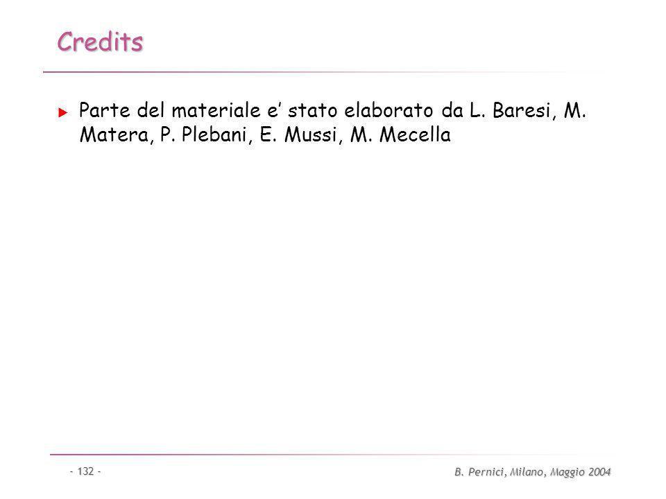 B. Pernici, Milano, Maggio 2004 - 132 - Credits Parte del materiale e stato elaborato da L.