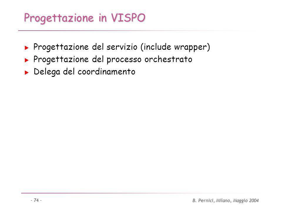 B. Pernici, Milano, Maggio 2004 - 74 - Progettazione in VISPO Progettazione del servizio (include wrapper) Progettazione del processo orchestrato Dele
