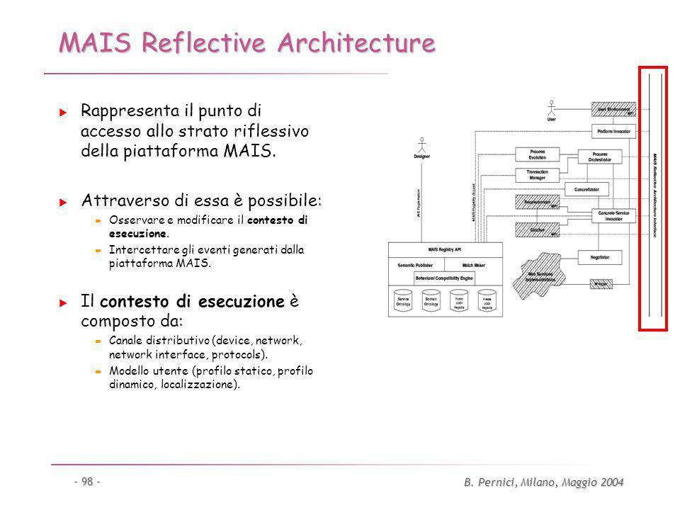 B. Pernici, Milano, Maggio 2004 - 98 - MAIS Reflective Architecture Rappresenta il punto di accesso allo strato riflessivo della piattaforma MAIS. Att