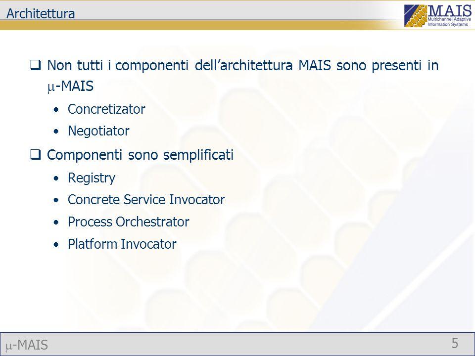 -MAIS 5 Architettura Non tutti i componenti dellarchitettura MAIS sono presenti in -MAIS Concretizator Negotiator Componenti sono semplificati Registry Concrete Service Invocator Process Orchestrator Platform Invocator