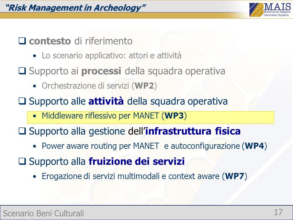 Scenario Beni Culturali 17 Risk Management in Archeology contesto di riferimento Lo scenario applicativo: attori e attività Supporto ai processi della
