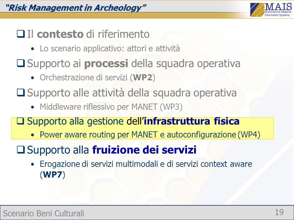 Scenario Beni Culturali 19 Risk Management in Archeology Il contesto di riferimento Lo scenario applicativo: attori e attività Supporto ai processi de