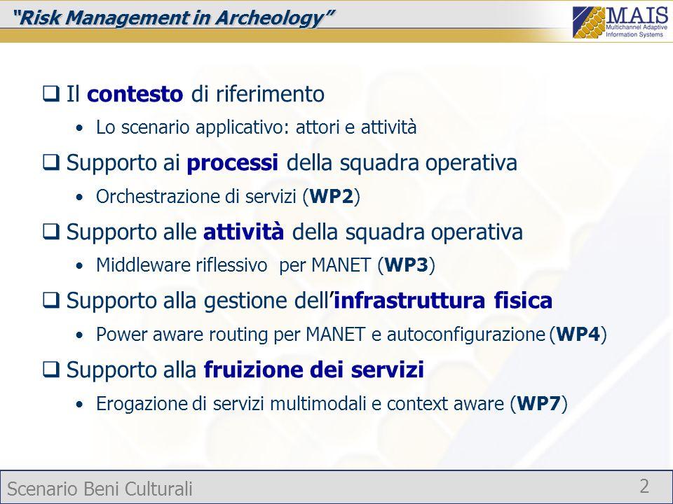 Scenario Beni Culturali 2 Risk Management in Archeology Il contesto di riferimento Lo scenario applicativo: attori e attività Supporto ai processi del