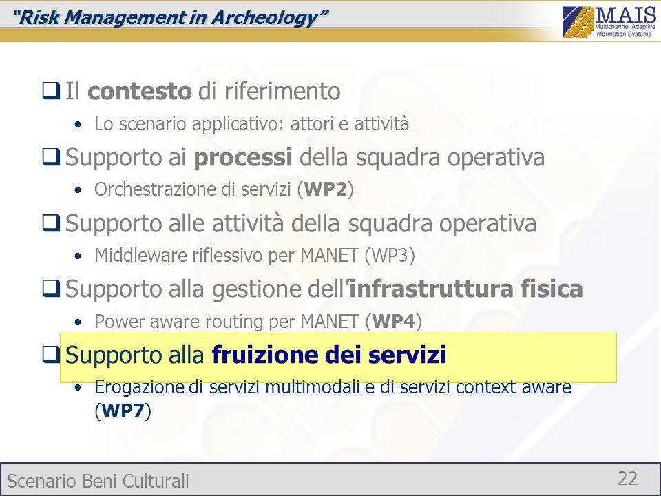 Scenario Beni Culturali 22 Risk Management in Archeology Il contesto di riferimento Lo scenario applicativo: attori e attività Supporto ai processi de