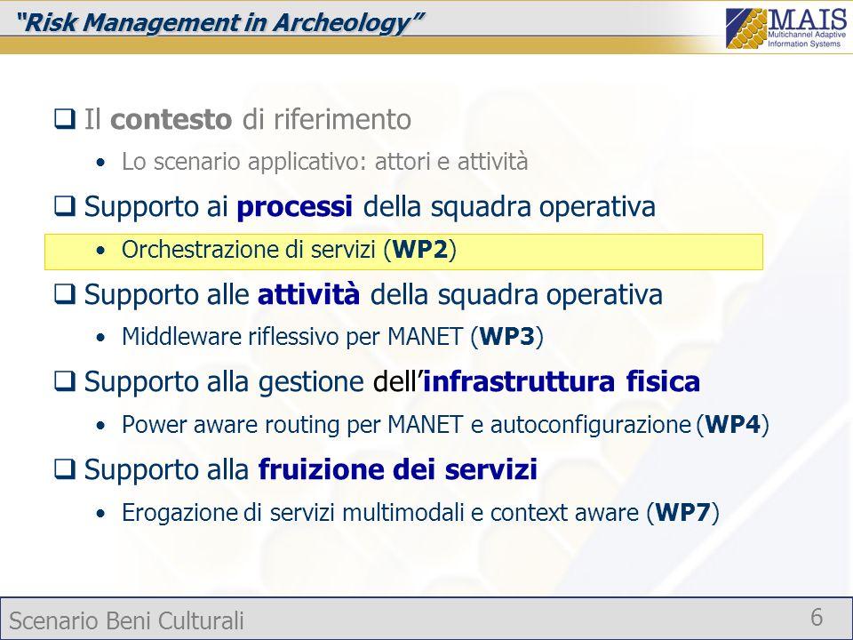 Scenario Beni Culturali 6 Risk Management in Archeology Il contesto di riferimento Lo scenario applicativo: attori e attività Supporto ai processi del