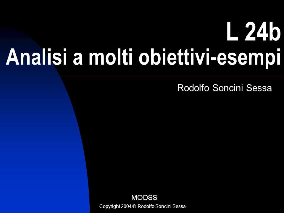 R. Soncini Sessa, MODSS, 2004 1 L 24b Analisi a molti obiettivi-esempi Rodolfo Soncini Sessa MODSS Copyright 2004 © Rodolfo Soncini Sessa.