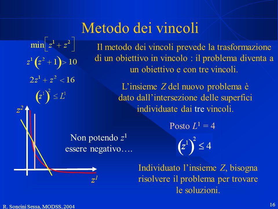 R. Soncini Sessa, MODSS, 2004 16 Metodo dei vincoli Posto L 1 = 4 Il metodo dei vincoli prevede la trasformazione di un obiettivo in vincolo : il prob