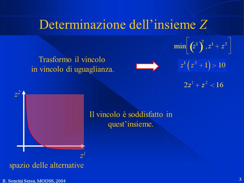 R. Soncini Sessa, MODSS, 2004 3 Determinazione dellinsieme Z z2z2 z1z1 spazio delle alternative Trasformo il vincolo in vincolo di uguaglianza. Il vin