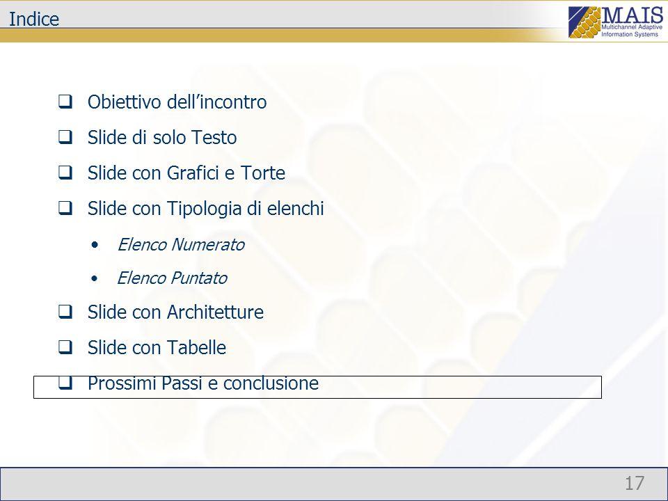 17 Indice Obiettivo dellincontro Slide di solo Testo Slide con Grafici e Torte Slide con Tipologia di elenchi Elenco Numerato Elenco Puntato Slide con Architetture Slide con Tabelle Prossimi Passi e conclusione