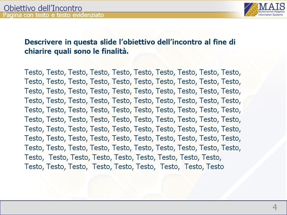 4 Pagina con testo e testo evidenziato Obiettivo dellIncontro Descrivere in questa slide lobiettivo dellincontro al fine di chiarire quali sono le finalità.