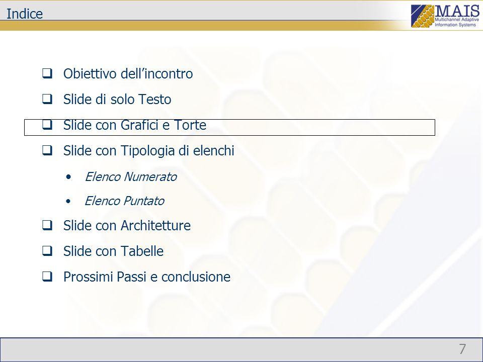 7 Indice Obiettivo dellincontro Slide di solo Testo Slide con Grafici e Torte Slide con Tipologia di elenchi Elenco Numerato Elenco Puntato Slide con Architetture Slide con Tabelle Prossimi Passi e conclusione
