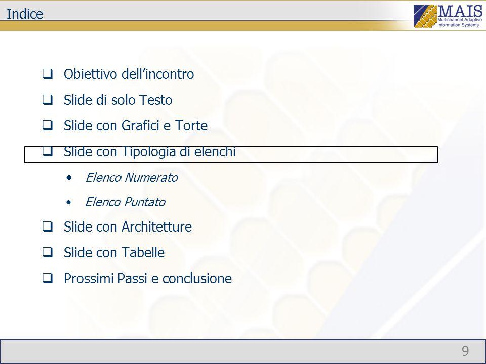 9 Indice Obiettivo dellincontro Slide di solo Testo Slide con Grafici e Torte Slide con Tipologia di elenchi Elenco Numerato Elenco Puntato Slide con Architetture Slide con Tabelle Prossimi Passi e conclusione