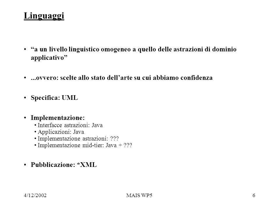 4/12/2002MAIS WP56 Linguaggi a un livello linguistico omogeneo a quello delle astrazioni di dominio applicativo...ovvero: scelte allo stato dellarte su cui abbiamo confidenza Specifica: UML Implementazione: Interfacce astrazioni: Java Applicazioni: Java Implementazione astrazioni: .