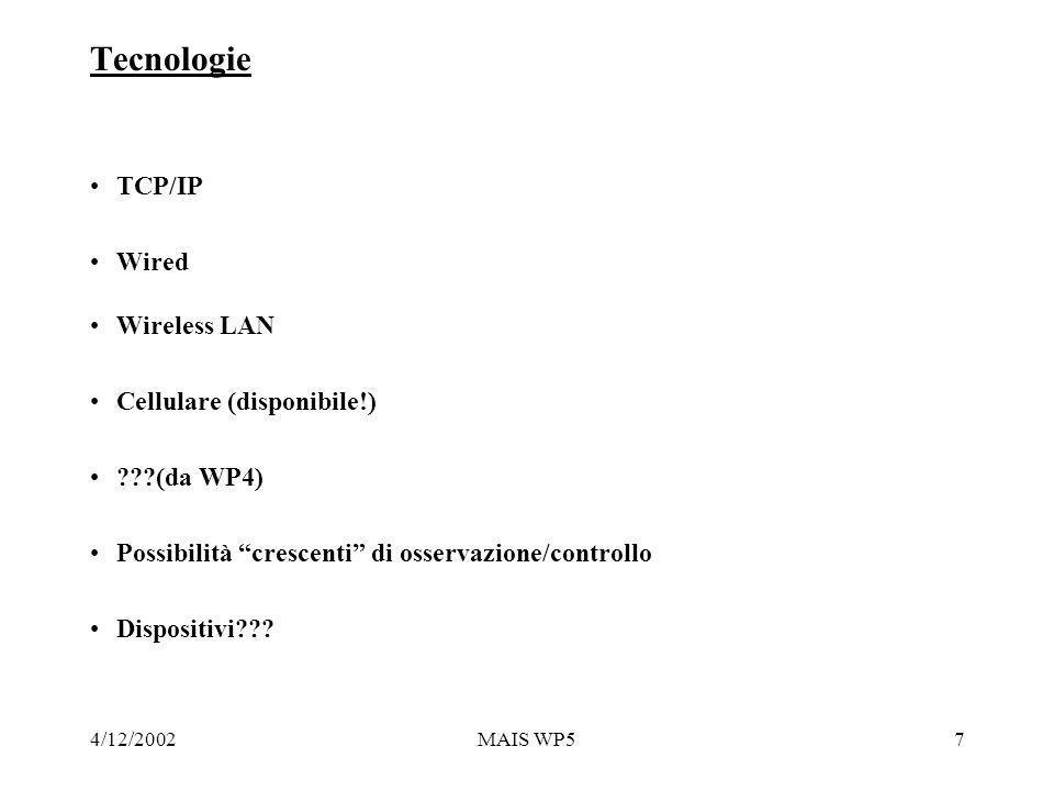4/12/2002MAIS WP57 Tecnologie TCP/IP Wired Wireless LAN Cellulare (disponibile!) (da WP4) Possibilità crescenti di osservazione/controllo Dispositivi
