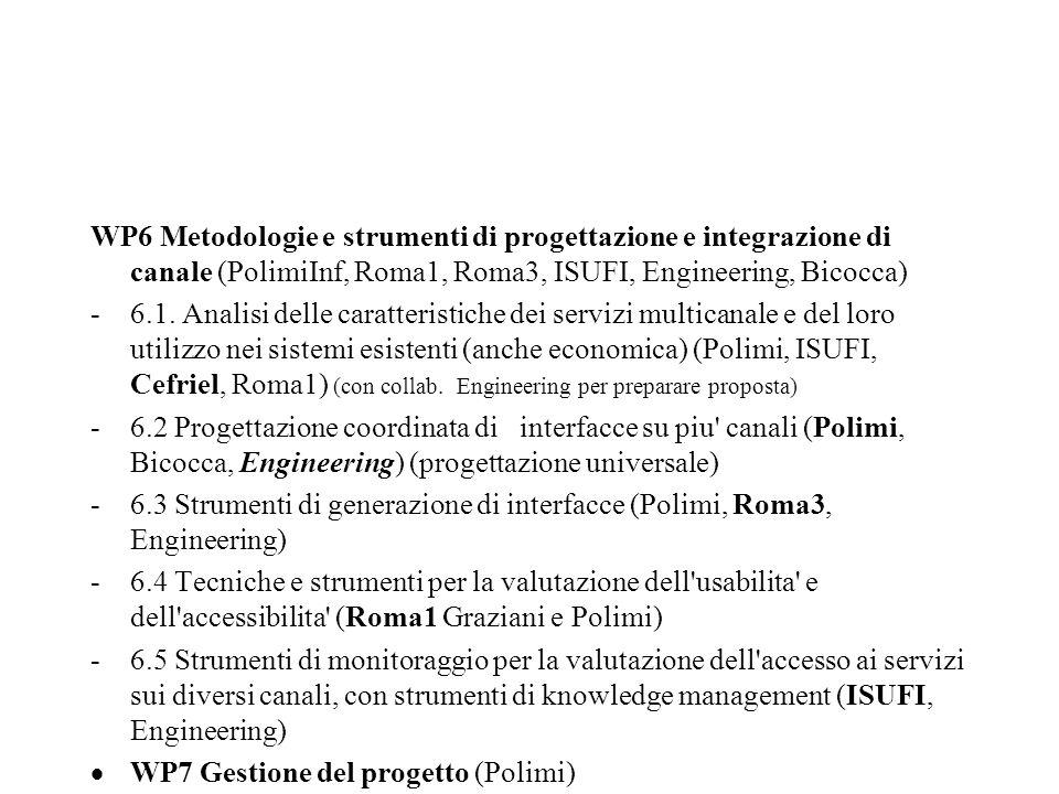 WP6 Metodologie e strumenti di progettazione e integrazione di canale (PolimiInf, Roma1, Roma3, ISUFI, Engineering, Bicocca) -6.1.
