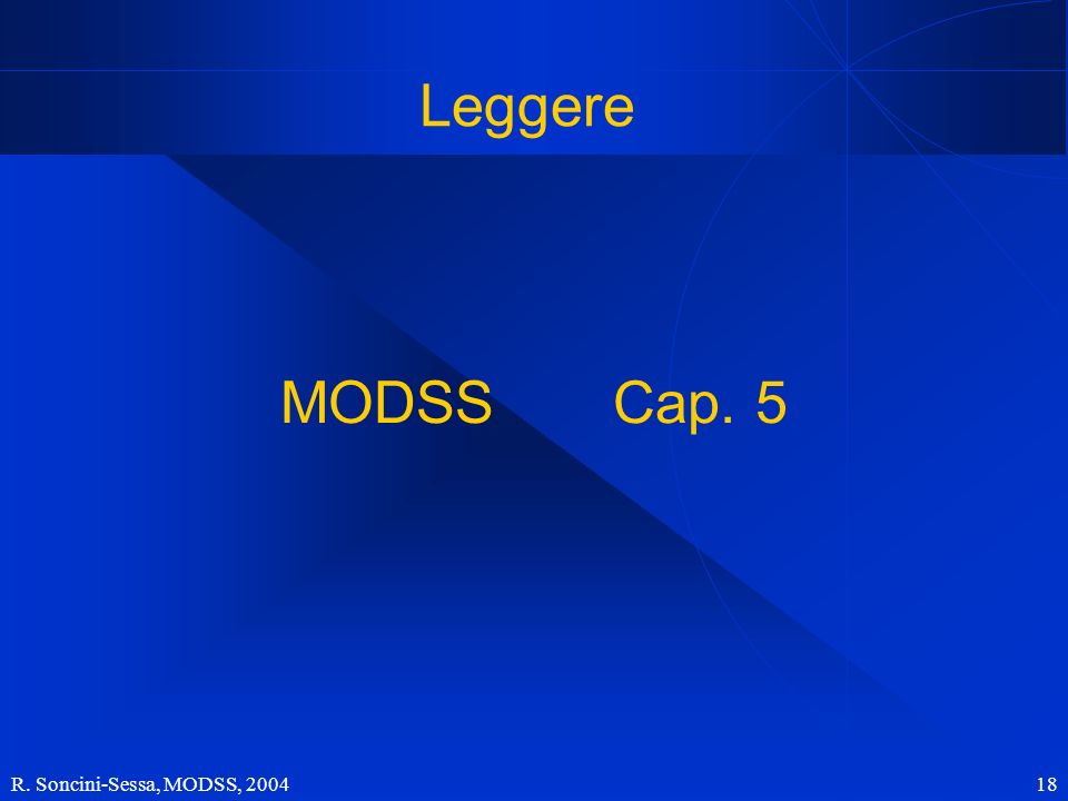 R. Soncini-Sessa, MODSS, 2004 18 Leggere MODSS Cap. 5