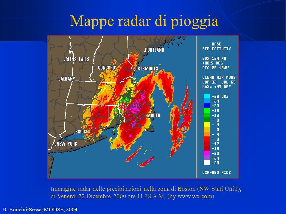 R. Soncini-Sessa, MODSS, 2004 Mappe radar di pioggia Immagine radar delle precipitazioni nella zona di Boston (NW Stati Uniti), di Venerdì 22 Dicembre