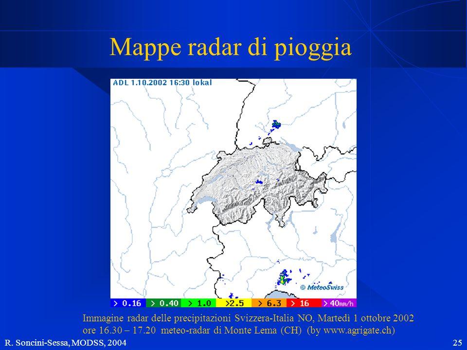R. Soncini-Sessa, MODSS, 2004 25 Mappe radar di pioggia Immagine radar delle precipitazioni Svizzera-Italia NO, Martedì 1 ottobre 2002 ore 16.30 – 17.