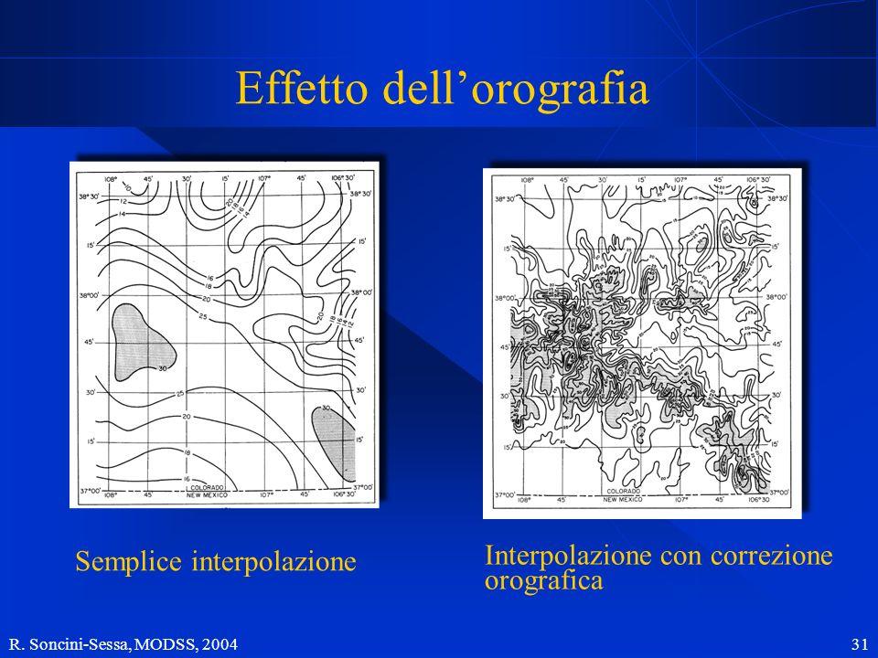 R. Soncini-Sessa, MODSS, 2004 31 Effetto dellorografia Semplice interpolazione Interpolazione con correzione orografica