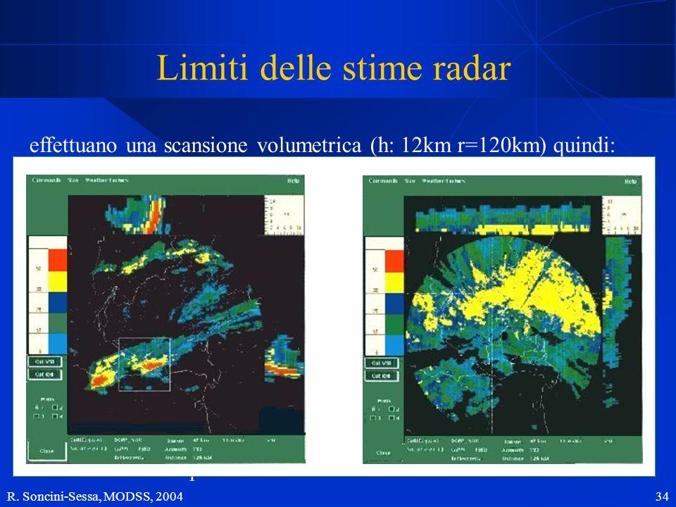 R. Soncini-Sessa, MODSS, 2004 34 Limiti delle stime radar effettuano una scansione volumetrica (h: 12km r=120km) quindi: la pioggia a bassa quota sfug