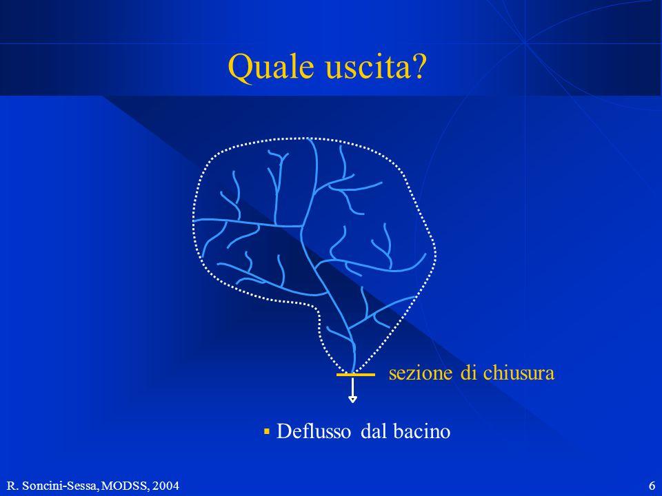 R. Soncini-Sessa, MODSS, 2004 6 Quale uscita? sezione di chiusura Deflusso dal bacino