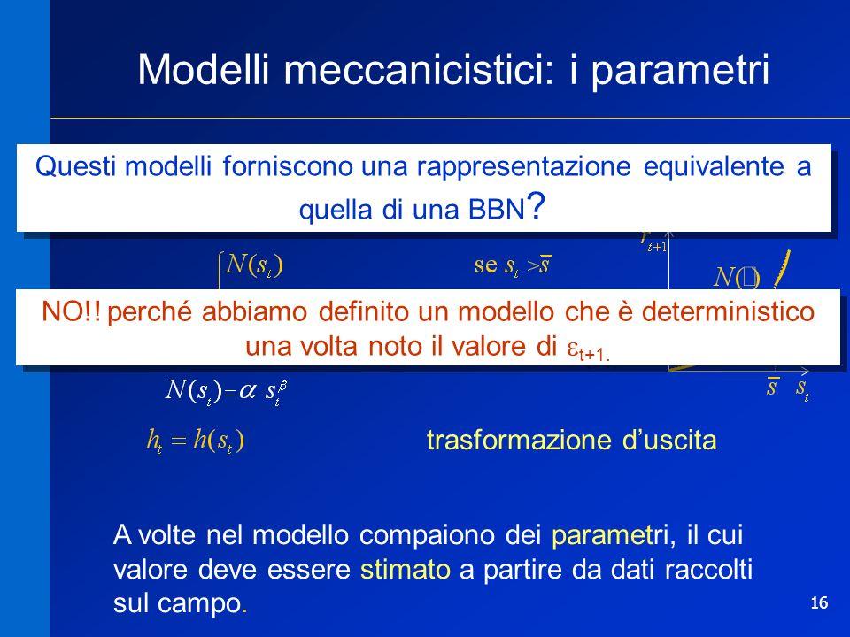 16 Modelli meccanicistici: i parametri transizione di stato trasformazione duscita A volte nel modello compaiono dei parametri, il cui valore deve essere stimato a partire da dati raccolti sul campo.